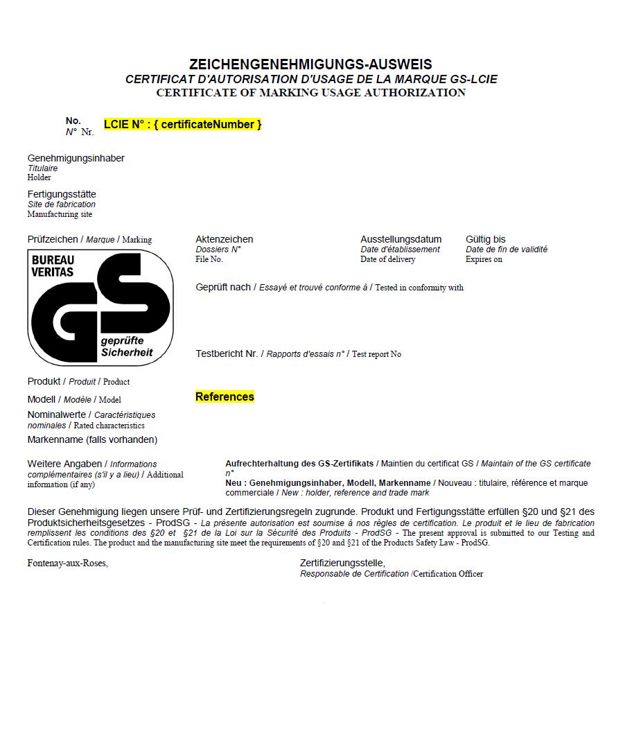 Certification LCIE Bureau Veritas